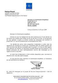 Lettre Commissaire enqueteur