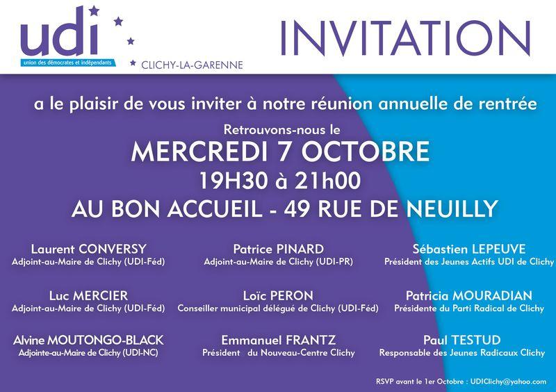 CARTON INVITATION UDI CLICHY - 7 OCTOBRE