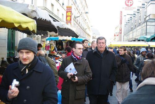 Avec Patrick Balkany sur le marché de Clichy - 31 janvier 2009